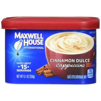 Maxwell House International Cafe Flavored Instant Coffee, Cinnamon Dulce Cappuccino, 4 Count, 36.4 Ounce
