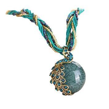Necklace, Hatop Bohemian Womens Rhinestone Peacock Gem Pendant Statement Necklace