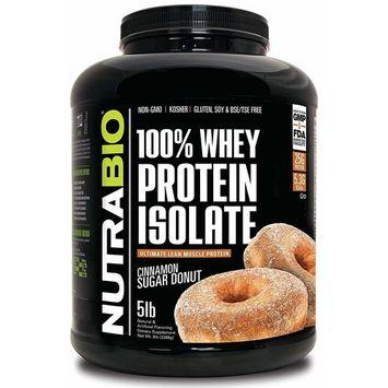 NutraBio 100% Whey Protein Isolate (Cinnamon Sugar Donut, 5 Pounds)