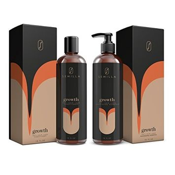SEMILLA Biotin Shampoo and Conditioner – Natural Anti-Hair Loss Keratin and Follicle Treatment with Caffeine & DHT Blocker – Best Organic Support for Thicker Fuller Hair – Men and Women