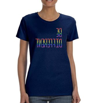 Allntrends Women's T Shirt Be Different Gay Lesbian Rainbow Pride Tee (3XL, Navy Blue)