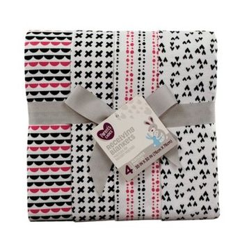 Parent's Choice Receiving Blankets, Black and White, 4 Pack