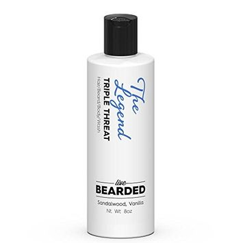 Sandalwood Beard Wash with hint of Vanilla   Live Bearded Made in USA   The Legend All Natural Beard Shampoo [Sandalwood Vanilla - The Legend]