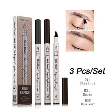 Eye Brow Eyeliner Eyebrow Pen,lotus.flower 3Pcs Waterproof Eyeliner Eyebrow Pen Pencil With Brush Makeup Cosmetic Tool