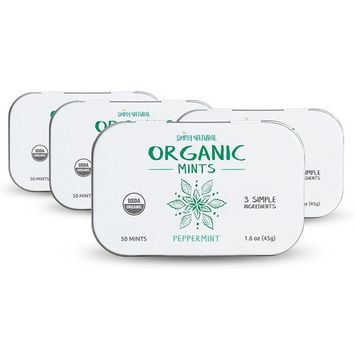Simply Natural Organic Breath Mints, Peppermint, Powerful Fresh Breath Natural Candy, Gluten-Free, USDA Certified Organic, 50-Piece Tins, (Pack of 4) 200 Pieces