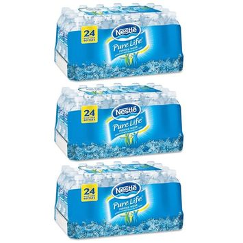 Nestle Pure Life Purified Water, 16.9 oz. Bottles, 3 Cases (24 Bottles)
