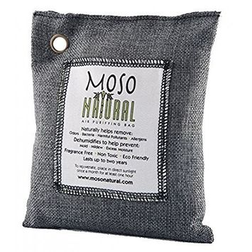 Moso Natural Air Purifying Bag. Charcoal , 200-Gram, Odor Eliminator for Cars, Closets, Bathrooms and Pet Areas -