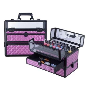 Clear Panel Top Nail Polish Makeup Train Case 16