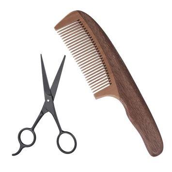 Anself 2Pcs Men's Beard Comb Scissor Set Pearwood Beard Comb + Stainless Steel Scissor