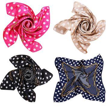 Square Scarf, Coxeer 4Pcs Stylish Dots Printed Silk Neckerchief Neck Scarfs for Women Girls