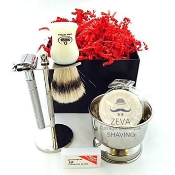 Deluxe Wet Shave Kit | Includes 6 Items: Safety Razor, Badger Hair Brush, Stand, Soap, Stainless Steel Bowl and 10 Dorco Razor Blades Vintage Mens Shaving Set -Comes in Gift Box DE Men Grooming kit Hi