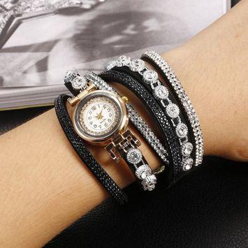 Unbrand - Women Fashion Casual Decor Round Rhinestone Bracelet Watch TOYS2 [name: actual_color value: actual_color-black]