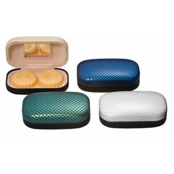 Contact Lens Case Metal w/Fabric & Mirror in Dotted Blue CLC3