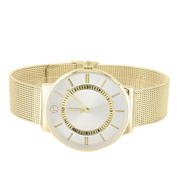 Master Of Bling - Gold Tone Mesh Band Watch Stainless Steel Back Analog Techno Pave Water Resistant