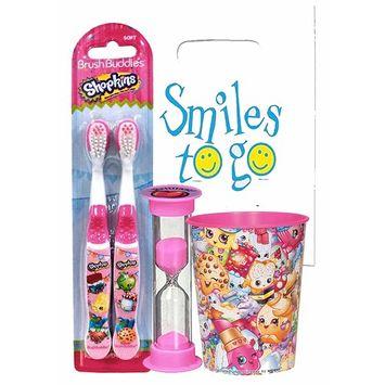 Shopkins Inspired 4pc Bright Smile Oral Hygiene Bundle! 2pk Manual Toothbrush, Brushing Timer & Mouthwash Rise Cup! Plus Dental Gift Bag & Tooth Saver Necklace!