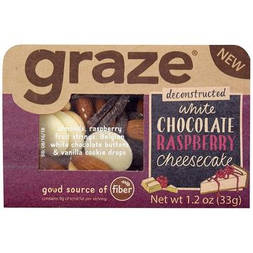 Graze White Chocolate Raspberry Cheesecake Mix with Almonds, Raspberry Fruit Strings, White Chocolate Buttons and Vanilla Cookie Drops, 1.2 Ounce Box, 9 Pack