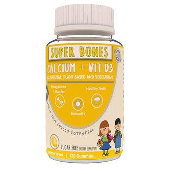 LIV Kids, Super Bones GUMMY, Calcium & Vitamin D3 Gummy, Plant Based, Vegetarian, Halal, Kosher, Lemon Flavor
