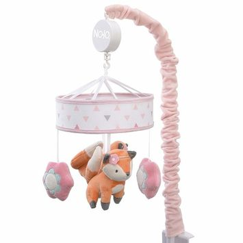 NoJo Aztec Mix & Match Nursery Crib Musical Mobile, Pink, Orange, Grey, White, Floral