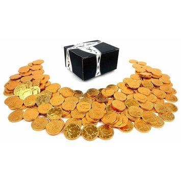 Milk Chocolate Gold Coins by Cuckoo Luckoo Confections, 2 lb Bag in a BlackTie Box