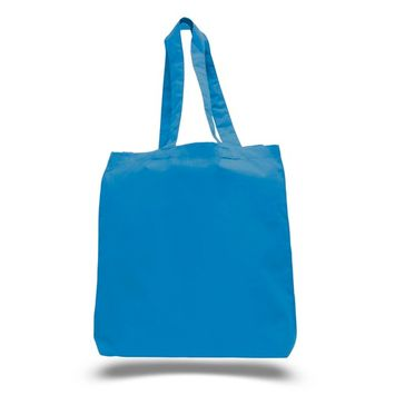 TBF - (3 Pack) Set of 3 High Quality Cotton Tote Bags Wholesale with Bottom Gusset (Sapphire) [name: actual_color value: actual_color-blue]
