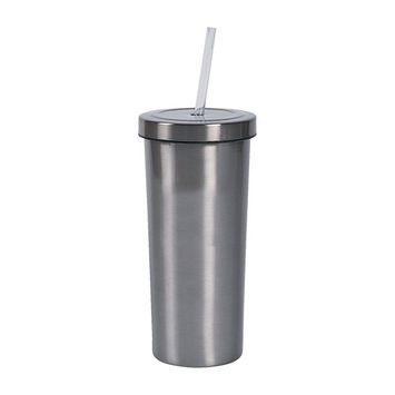 Fun Express - Stainless Steel Tumbler With Straw for Wedding - Home Decor - Entertaining - Drinkware - Wedding - 1 Piece