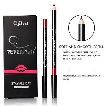 EA-STONE 12 Color Qibest Lip Liner Pencil Set, Waterproof Long Lasting Retro Makeup Tool Kit