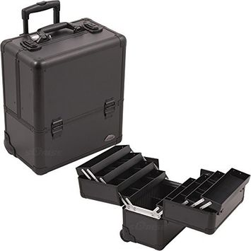 Sunrise 8 Easy Slide Extendable Trays Professional Makeup Rolling Case with Dividers, Black Smooth