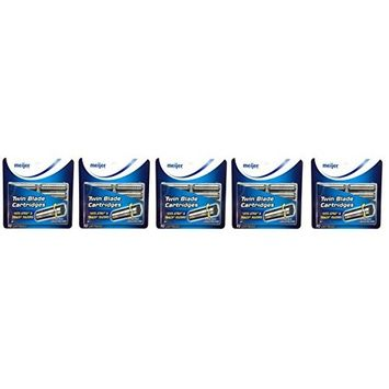 Twin Blade Cartridges with Lubricating Strip, 10 Count (Pack of 5) + FREE Travel Toothbrush, Color May Vary