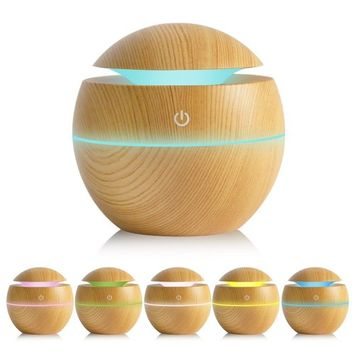 Estink 130ml Aroma Diffuser Humidifier, Essential Oil Diffuser Air Purifier Portable Touch Sensitive 6 Color LED Lights Changing for Home, Office, Baby Room, Bedroom, Yoga, Spa Hotel (Kight Wood)