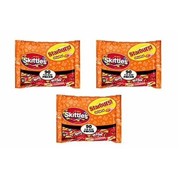 SKITTLES & STARBURST Halloween Candy Fun Size Variety Mix 39.1-Ounce Bag, 90 Pieces (3 Pack)