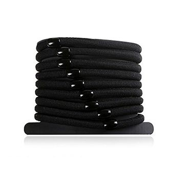 Hair Tie Bands Ropes Ponytail Holder Elastic Black Hair Ring (Pack of 20)