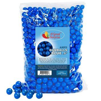 Gumballs in Bulk - Dark Blue Gumballs for Candy Buffet - Mini Gumballs 1/2 Inch, Bulk Candy 2 LB [Blue]