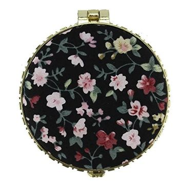 EYX Formula Chinese Embroidered Cloth printing makeup mirror for women,Round Retro Double-sided folding Portable compact mirror for carrying out