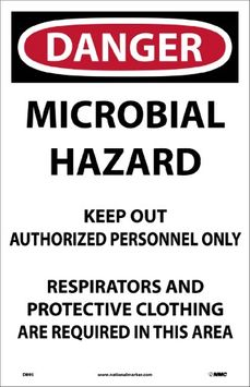 National Marker DANGER, MICROBIAL HAZARD. . , 17X11, PAPER, 100/PK (200 Pack)