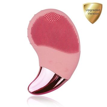 Benss Silicone Facial Cleansing Brush with Multifunction, 5-in-1 All Skin Cleansing Electric Waterproof Rechargeable Skin Care Cleansing Brush System (Pink, Upgraded Version)