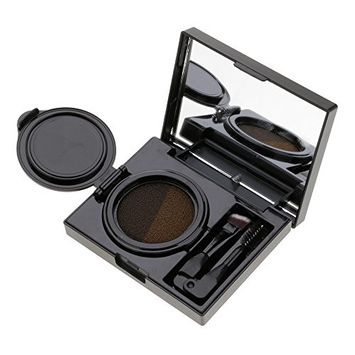 Huayang Long Lasting Eyebrow Cream,Double Colors Waterproof Cushion Eyebrow Makeup With Brush&Card(gray)