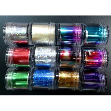 CyberStyle(TM) 12 styles GLITZY TRANSFER NAIL ART FOIL - Nail tips ,toe,cellphone craft