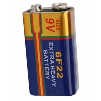 Hillflower 8 pcs 6F22 6LR61 Bulk 9V Carbon Zinc New Battery