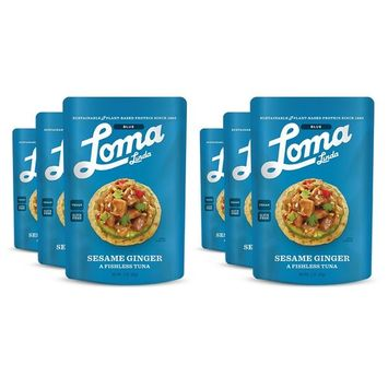 Loma Linda Blue - Plant-Based Meal Solution - Sesame Ginger Fishless Tuna (3 oz.) (Pack of 6) - Non-GMO