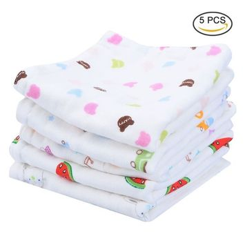 Pretty See 100% Organic Cotton Baby Wipes Soft Newborn Face Towels Baby Washcloths, Set of 5