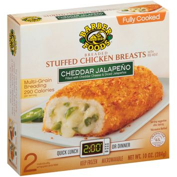 Barber Foods™ Cheddar Jalapeno Breaded Fully Cooked Stuffed Chicken Breasts 2 ct Box