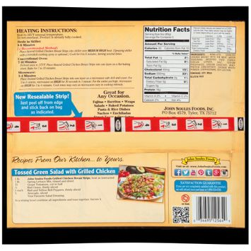 john soules foods® fully cooked grilled chicken breast strips with rib meat