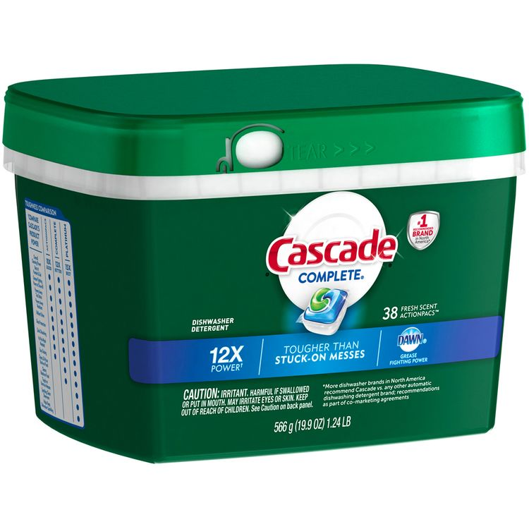 Cascade® Complete® Fresh Scent Action Pacs™ Dishwasher Detergent 38 ct Plastic Container