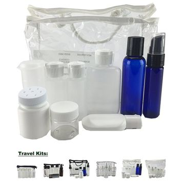 Travel Kit, Clear Vinyl Bag, Travel Size Containers, TSA Compliant, Empty Containers (9 Pieces, Assorted Containers, White Zipper)