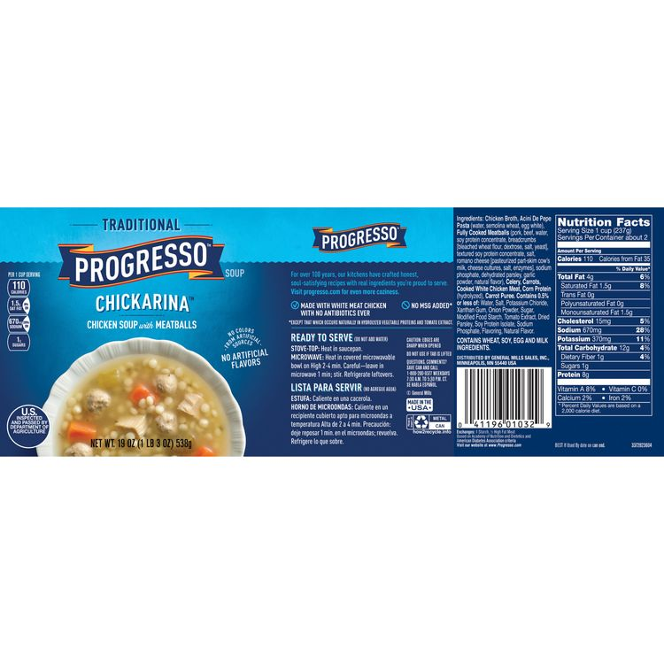 Progresso Soup, Traditional, Chickarina Soup, 19 oz Can