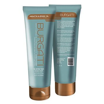BURGATI Salon Style Conditioner with 100% Moroccan Argan Oil and Keratin | Professional Series (8 oz) | Comb it and let it work | Smooth, Strong and Vibrant | Ideal for all Hair Types | Made in USA
