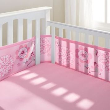 BreathableBaby | Mesh Crib Liner | Pink Owl and Pink