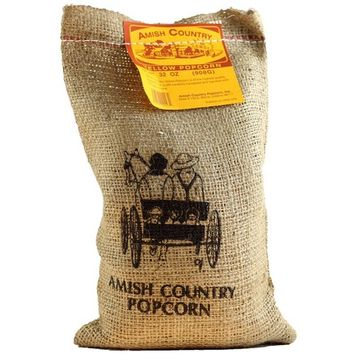 Amish Country Popcorn, Yellow, 2 Pounds in a Burlap Bag