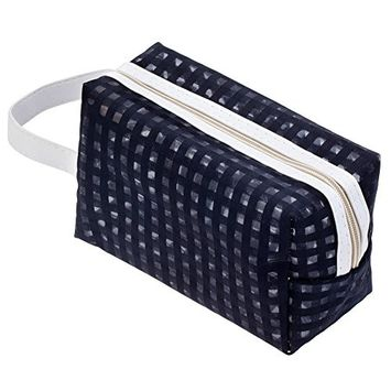 Washable And Durable, Black Nylon Beauty And Make Up Cosmetics Pouch / Bag / Case for Makeup Utensils And Toiletries By VAGA