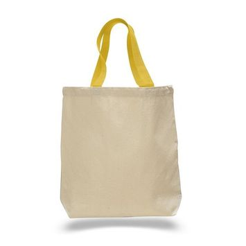 TBF - (12 Pack) Set of 12 Cotton Canvas Gusset and Contrasting Handles Tote Bag (Yellow) [name: actual_color value: actual_color-yellow]
